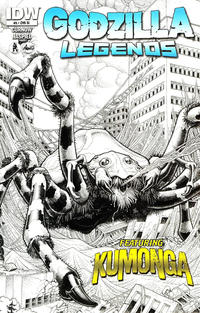 Cover Thumbnail for Godzilla Legends (IDW, 2011 series) #5 [Incentive Arthur Adams Black & White Variant Cover]