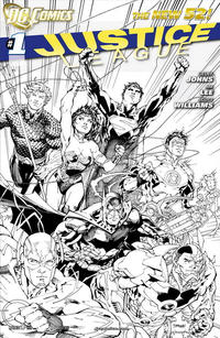Cover Thumbnail for Justice League (DC, 2011 series) #1 [Fifth Printing - Jim Lee Black & White Cover]