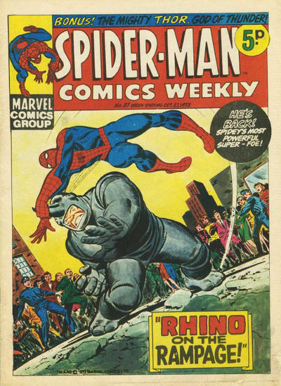 Cover for Spider-Man Comics Weekly (Marvel UK, 1973 series) #37