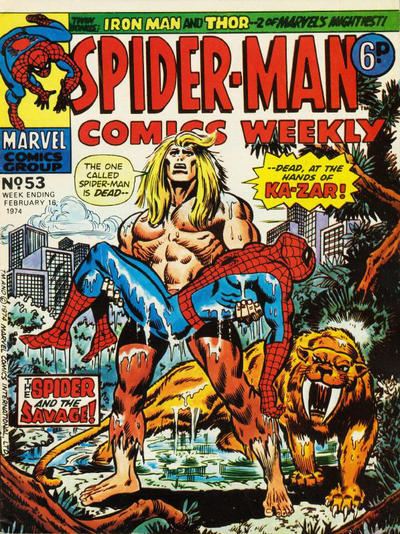Cover for Spider-Man Comics Weekly (Marvel UK, 1973 series) #53