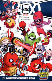 Cover Thumbnail for Avengers vs. X-Men (Marvel, 2012 series) #1 [Midtown Comics Wraparound Cover by Skottie Young]