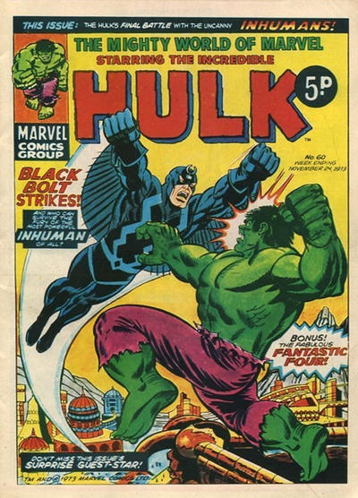 Cover for The Mighty World of Marvel (Marvel UK, 1972 series) #60