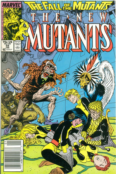 Cover for The New Mutants (Marvel, 1983 series) #59 [Direct Edition]