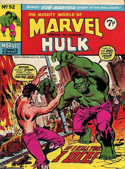Cover for The Mighty World of Marvel (Marvel UK, 1972 series) #92