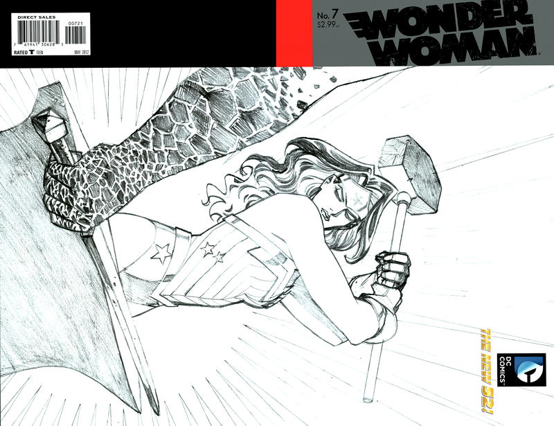 Cover for Wonder Woman (DC, 2011 series) #7 [Wraparound Sketch Variant Cover by Cliff Chiang]