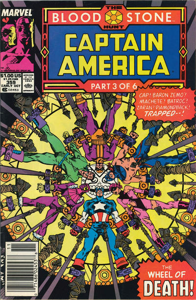 Cover for Captain America (Marvel, 1968 series) #359 [Newsstand Edition]