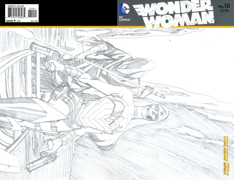 Cover for Wonder Woman (DC, 2011 series) #10 [Wraparound Sketch Variant Cover by Cliff Chiang]