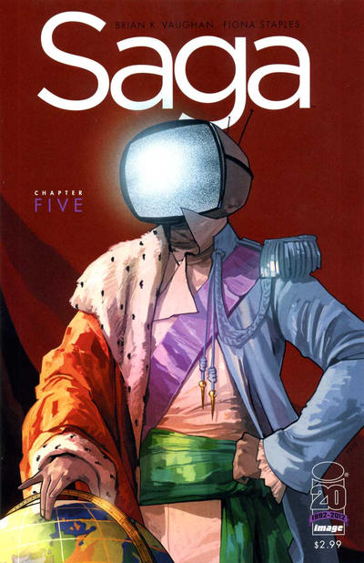 Cover for Saga (Image, 2012 series) #5 [2nd Printing Cover by Fiona Staples]