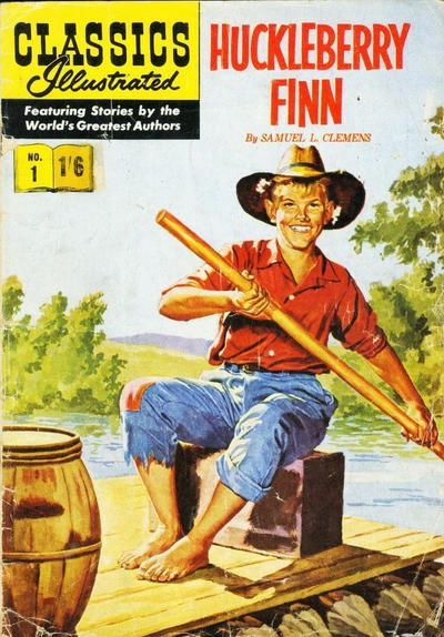 Cover for Classics Illustrated (Thorpe & Porter, 1951 series) #1 - Huckleberry Finn [Price variant HRN #129]