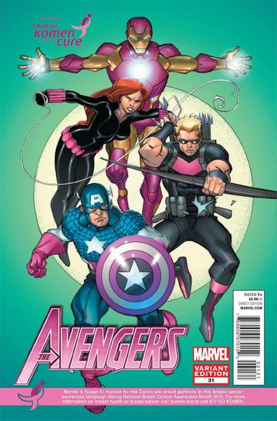Cover for Avengers (Marvel, 2010 series) #31 [Susan G. Komen]