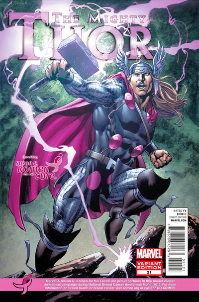 Cover for The Mighty Thor (Marvel, 2011 series) #21 [Susan G. Komen Breast Cancer Awareness Variant - Mike Perkins]