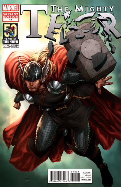 Cover for The Mighty Thor (Marvel, 2011 series) #18 [Thor 50th Anniversary Variant Cover by Steve McNiven]