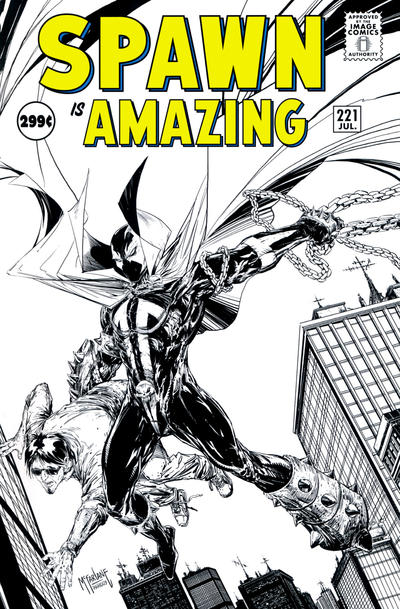 Cover for Spawn (Image, 1992 series) #221 [Cover B - B&W Incentive Variant by Todd McFarlane]