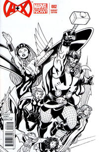 Cover Thumbnail for A+X (Marvel, 2012 series) #2 [Black & White Variant Cover by Ed McGuinness]