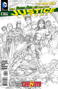Cover for Justice League (DC, 2011 series) #8 [Sketch Variant Cover by Jim Lee]