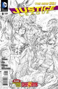 Cover Thumbnail for Justice League (DC, 2011 series) #9 [Sketch Variant Cover by Jim Lee]