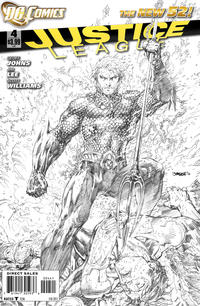 Cover Thumbnail for Justice League (DC, 2011 series) #4 [Sketch Variant Cover by Jim Lee]