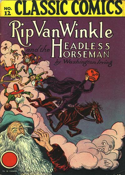 Cover for Classic Comics (Gilberton, 1941 series) #12 - Rip Van Winkle and the Headless Horseman