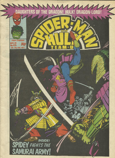 Cover for Spider-Man and Hulk Weekly (Marvel UK, 1980 series) #425