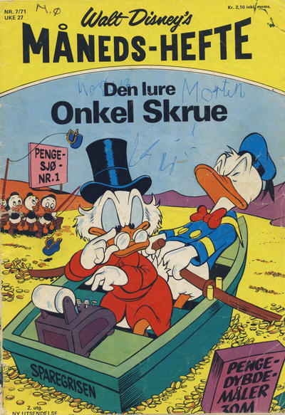 Cover for Walt Disney's månedshefte (Hjemmet / Egmont, 1967 series) #7/1971