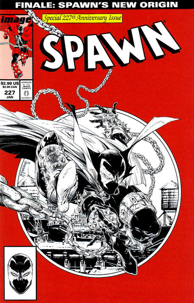 Cover for Spawn (Image, 1992 series) #227 [Cover B - Red, B&W Incentive Sketch by Todd McFarlane]