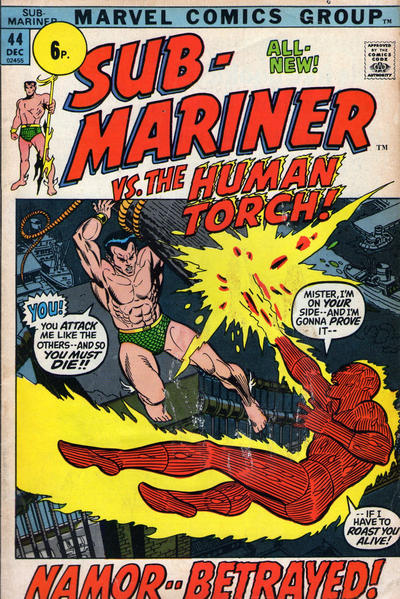 Cover for Sub-Mariner (Marvel, 1968 series) #44 [British price variant.]