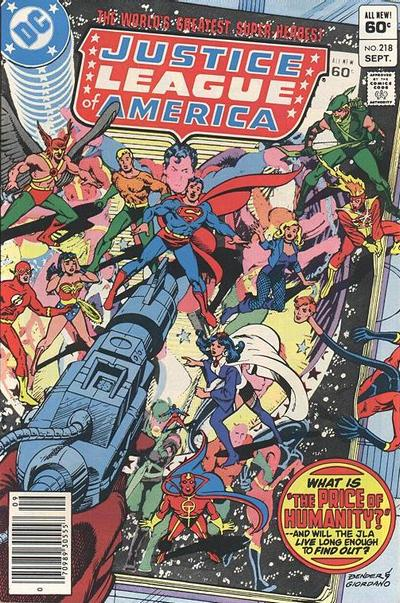 Cover for Justice League of America (DC, 1960 series) #218 [Newsstand]