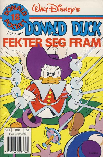 Cover for Donald Pocket (Hjemmet / Egmont, 1968 series) #18 - Donald Duck fekter seg fram [4. opplag]