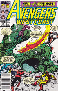 Cover Thumbnail for Avengers West Coast (Marvel, 1989 series) #54 [Newsstand Edition]