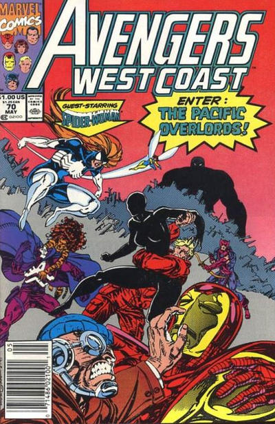 Cover for Avengers West Coast (Marvel, 1989 series) #70 [Direct Edition]