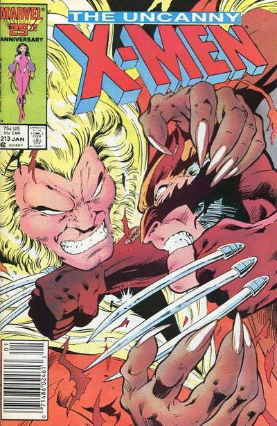 Cover for The Uncanny X-Men (Marvel, 1981 series) #213 [Newsstand]