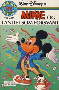 Cover Thumbnail for Donald Pocket (Hjemmet / Egmont, 1968 series) #91 - Mikke og landet som forsvant [1. opplag]