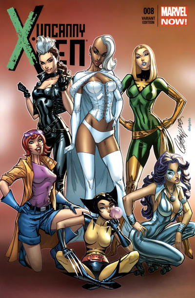 Cover for Uncanny X-Men (Marvel, 2013 series) #8 [Variant Cover by J. Scott Campbell]