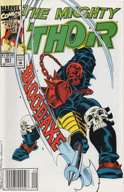Cover for Thor (Marvel, 1966 series) #451 [Newsstand Edition]