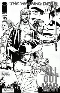 Cover for The Walking Dead (Image, 2003 series) #115 [Cover N - Midnight Release Black & White Variant by Charlie Adlard]