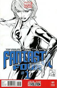 Cover Thumbnail for Fantastic Four (Marvel, 2013 series) #1 [Black & White Variant Cover by Joe Quesada]