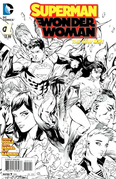 Cover for Superman / Wonder Woman (DC, 2013 series) #1 [Black & White Variant Cover by Tony S. Daniel]