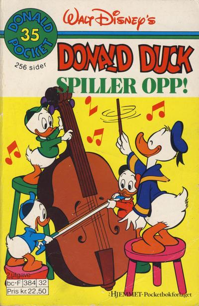 Cover for Donald Pocket (Hjemmet / Egmont, 1968 series) #35 - Donald Duck spiller opp! [3. opplag]