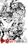 Cover for A+X (Marvel, 2012 series) #4 [Black & White Variant Cover by Ed McGuinness]