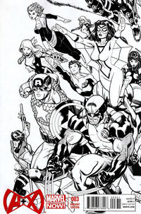 Cover Thumbnail for A+X (Marvel, 2012 series) #3 [Black & White Variant Cover by Ed McGuinness]