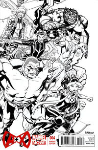Cover Thumbnail for A+X (Marvel, 2012 series) #4 [Black & White Variant Cover by Ed McGuinness]