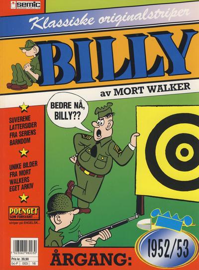 Cover for Billy Klassiske originalstriper (Semic, 1989 series) #1952/53 [2. opplag]