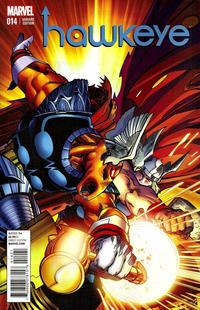 Cover Thumbnail for Hawkeye (Marvel, 2012 series) #14 [Thor Battle Variant Cover by Walter Simonson]