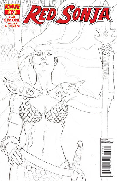 Cover for Red Sonja (Dynamite Entertainment, 2013 series) #6 [Black & White Retailer Incentive Cover - Jill Thompson]