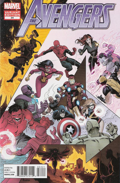 Cover for Avengers (Marvel, 2010 series) #34 [Paolo Rivera Cover]