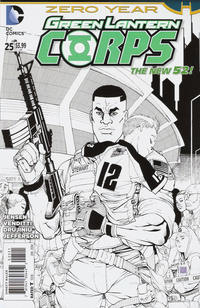 Cover Thumbnail for Green Lantern Corps (DC, 2011 series) #25 [Bernard Chang Black & White Cover]