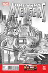 Cover for Uncanny Avengers (Marvel, 2012 series) #12 [Black and White LEGO Variant]