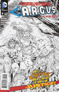 Cover Thumbnail for Forever Evil: A.R.G.U.S. (DC, 2013 series) #4 [Brett Booth / Norm Rapmund Black & White Cover]