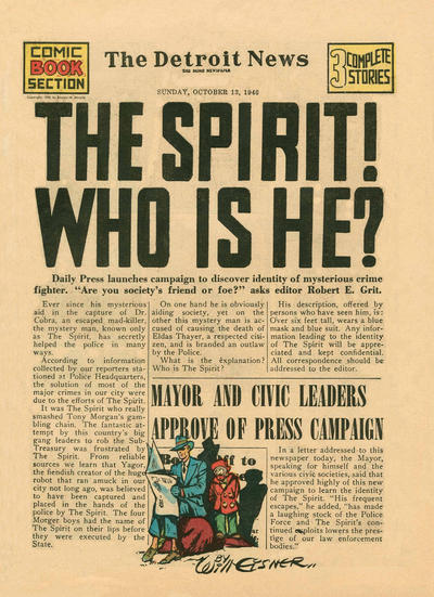 Cover for The Spirit (Register and Tribune Syndicate, 1940 series) #10/13/1940