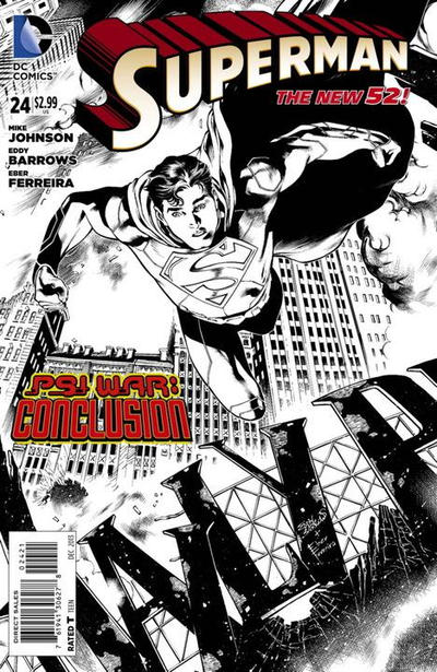 Cover for Superman (DC, 2011 series) #24 [Eddy Barrows Black & White Cover]